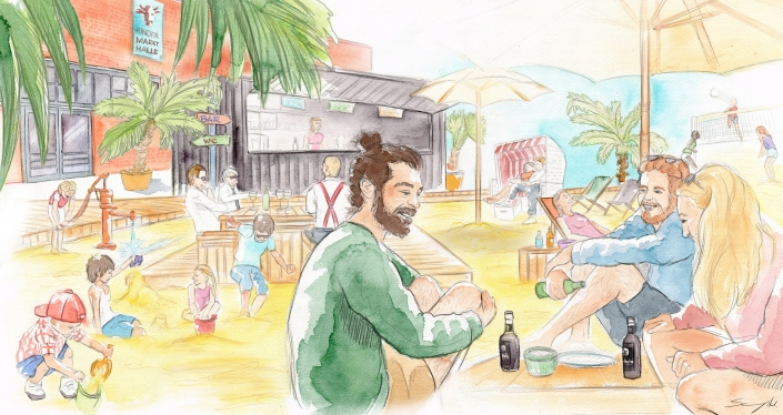 Karo Beach Illustration