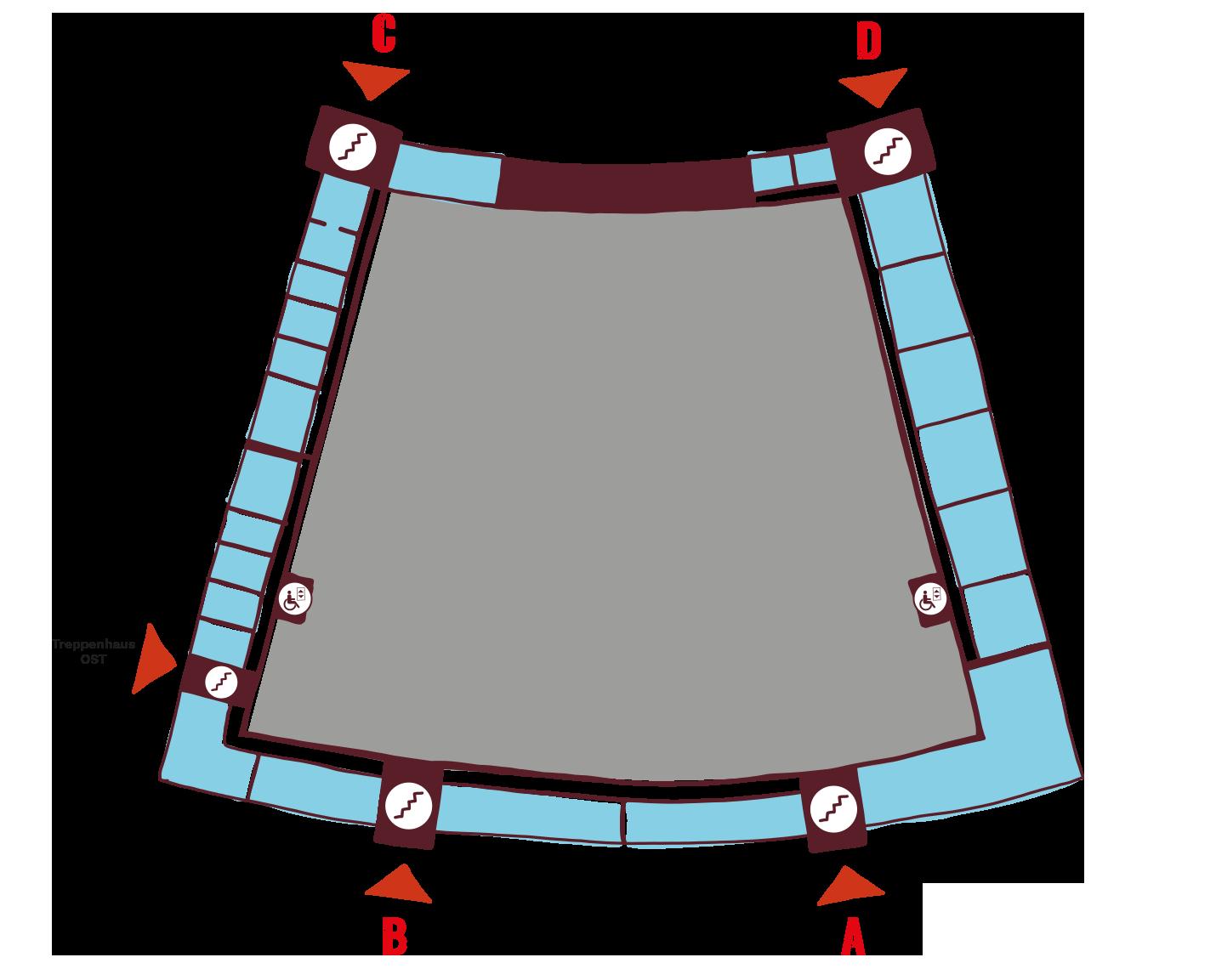 Lageplan Obergeschoss mit Treppenhäusern