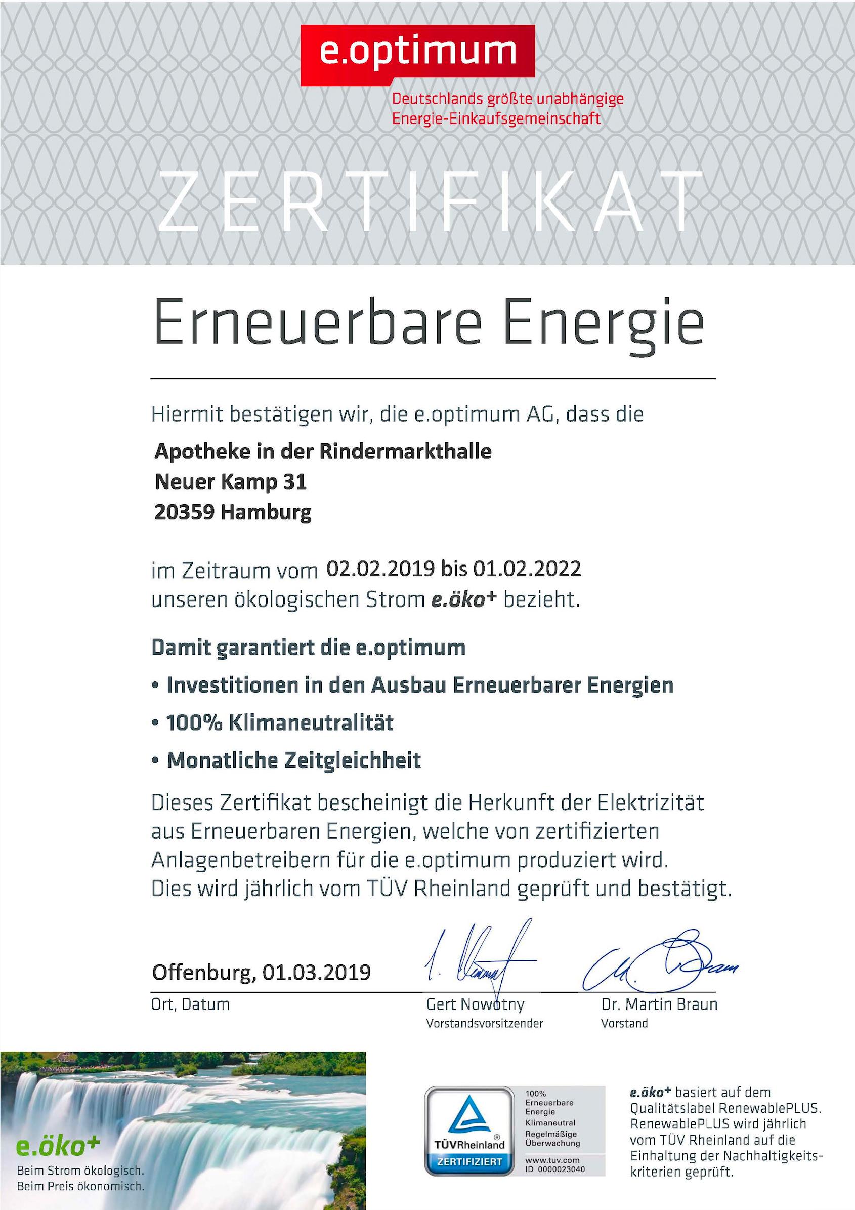 Zertifikat für Erneuerbare Energie der e.optimum