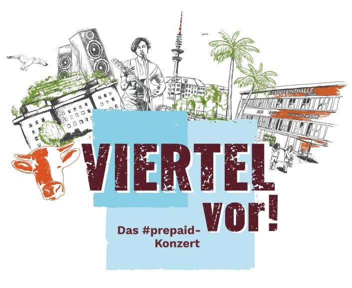 Viertel vor!-Logo mit Zeichnung